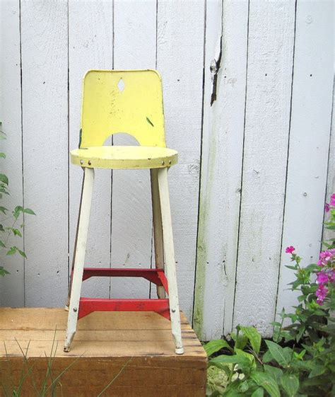 vintage farmhouse childs metal chair stool by birdie1