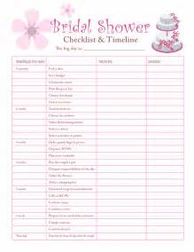 printable checklists bridal shower checklist
