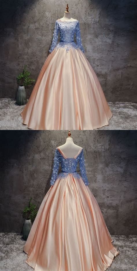 CHIC A-LINE BALL GOWNS PINK BLUE SATIN APPLIQUE LONG ...