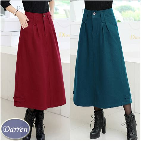 2015 Winter Long Skirt Female Fashion Thick Fabric Ankle Length Straight Skirts Womenu0026#39;s-inSkirts ...