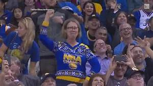 Dancing Lady in Ugly Sweater at a Warriors Game Has ...