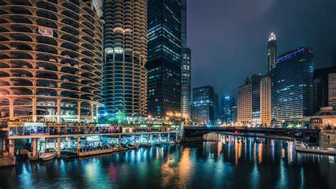usa houses skyscrapers rivers bridges marinas chicago city