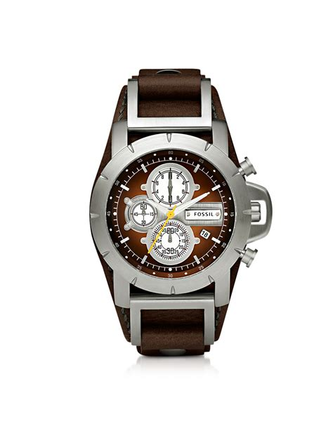watches for men fossil jake chronograph brown leather mens watch in brown