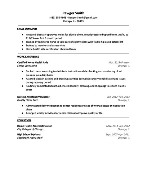 health care aide resume objective resume for home health
