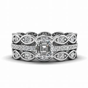 asscher cut infinity band diamond ring sets in 14k white With infinity wedding band and engagement ring