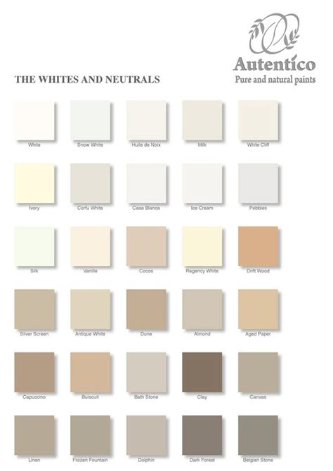 white and neutral colour chart by autentico to find out more to order or sign up for a work