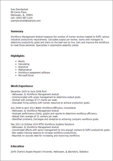 Workforce Resume Template by Professional Workforce Management Analyst Templates To