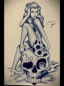 Pin up Girl & Skull | pin up poses | Pinterest