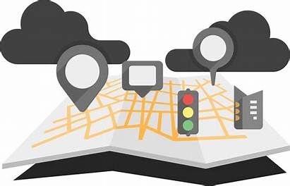 Map Road Folded Clipart Traffic Infographic Transparent