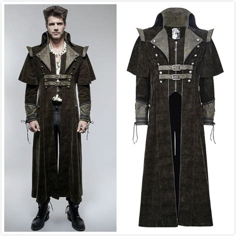 Punk Rave Mens Steampunk Gothic Military Brown Long