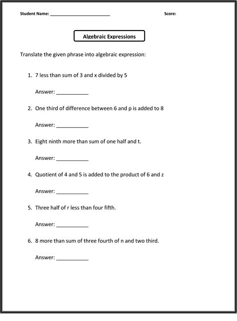 6th grade worksheets math learning printable