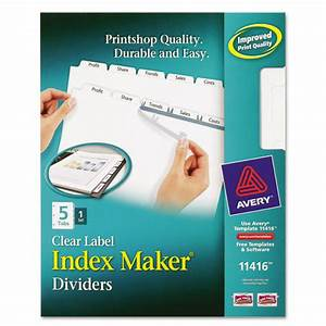 Averyr index maker clear label dividers 5 tab letter for Clear tab labels