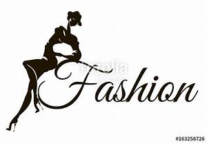 """""""Black and white fashion logo with woman model silhouette ..."""