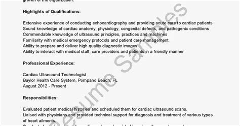 Ultrasound Technologist Resume Template by Resume Sles Cardiac Ultrasound Technologist Resume Sle
