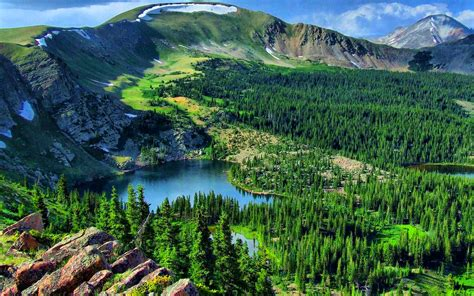 mountain landscape lake pine forest background