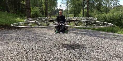 man  lifted   ground   diy quadcopter