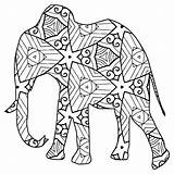 Coloring Animal Pages Geometric Elephant Printable Print sketch template