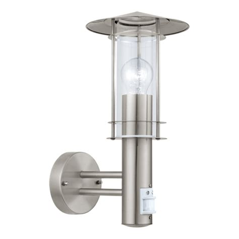eglo lisio outdoor wall l with motion sensor steel and