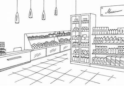 Supermarket Grocery Clipart Sketch Retail Clip Illustrazione