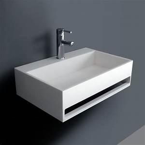 lavabo suspendu 60 x 40 cm matiere composite mineral With salle de bain design avec lavabo 60 x 40