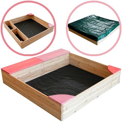 sandkasten mit dach und boden sun sandkasten aus holz mit abdeckung rosa holzsandkasten sandkiste stoff boden ebay