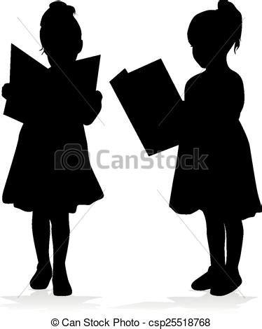 Silhouette of a girl reading a book. clip art vector