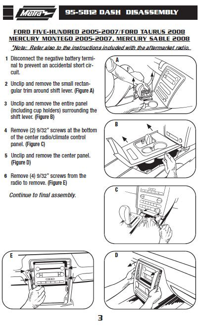 Ford Five Hundredinstallation Instructions
