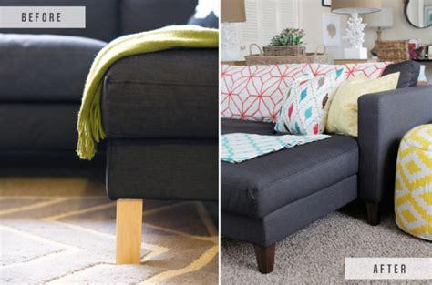 karlstad sofa leg hack ikea hack replacing legs on an ikea the blissful bee