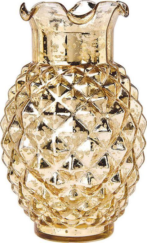 gold mercury glass vases gold mercury glass vase ruffled pineapple design