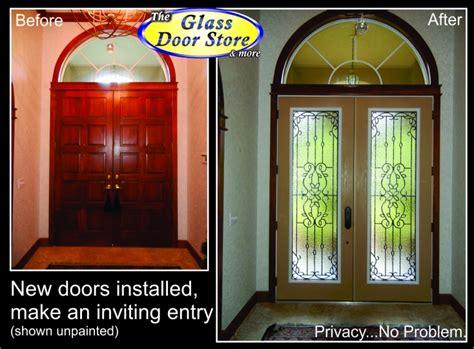 mediterranean wrought iron glass door inserts   front