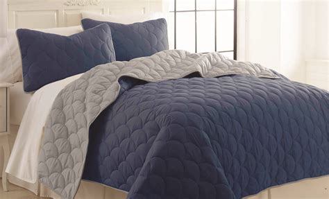 piece solid reversible coverlet set cloud