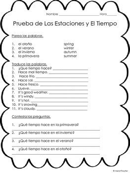 spanish weather worksheets pdf spanish weather and seasons quiz and 2 worksheets by