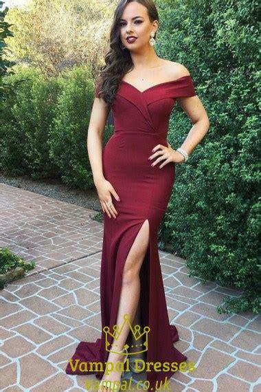 shoulder  neck burgundy long evening dress