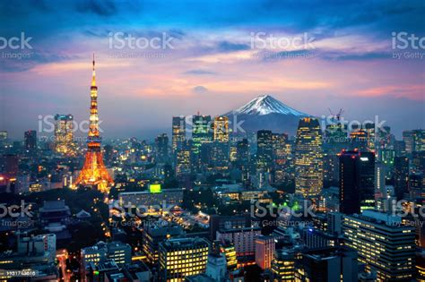 Aerial View Of Tokyo Cityscape With Fuji Mountain In Japan ...