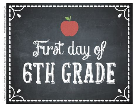 Berryberrysweetcom Free Printable First Day Of School Signs
