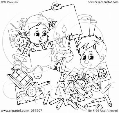 Coloring Outline Children Royalty Illustration Clip Clipart