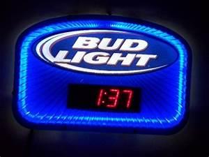 Blue Neon Bud Light Sign w Clock Budweiser Lite Beer