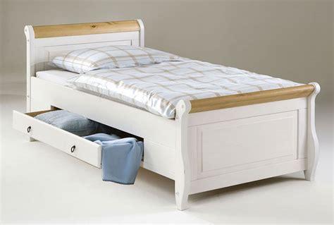 Bett 100x200, 2 Schubladen, Kiefer Massiv 2farbig Weiß Antik