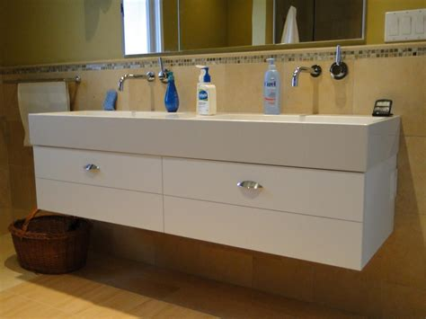 hand crafted trough sink vanity  case  case cabinets