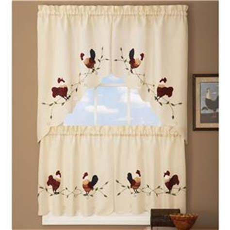 Country Rooster Kitchen Curtains by Country Rooster Kitchen Curtains Tier Swag Set