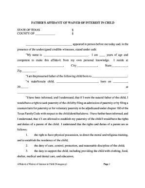 child support waiver form bill of sale form blank louisiana affidavit templates