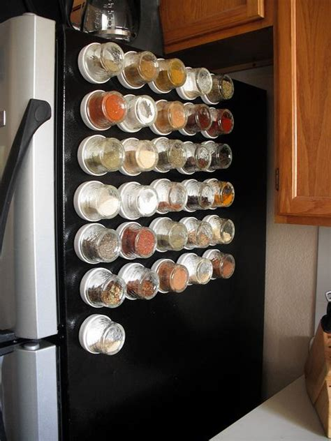 Best Spice Rack Solution by Spices With Magnets Are Placed On Fridge Kitchen Setups