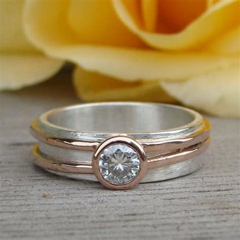 moissanite engagement  wedding ring  recycled