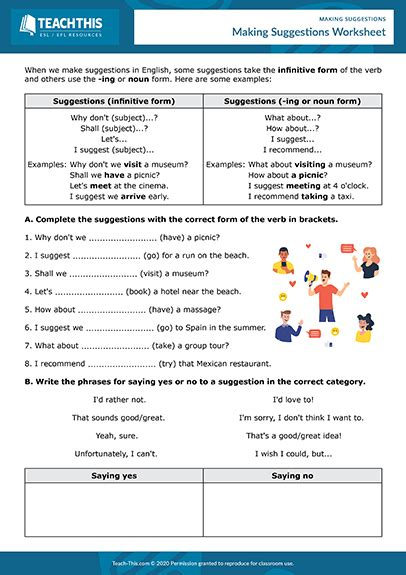 making suggestions    images esl activities