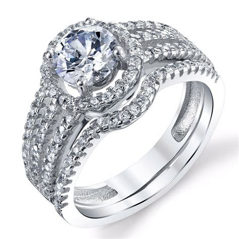925 sterling silver cz engagement wedding ring set
