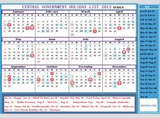 Central Government Employees Holiday Calendar 2013
