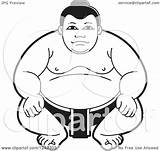 Sumo Wrestler Clipart Crouching Illustration Royalty Lal Perera Vector Collc0106 sketch template