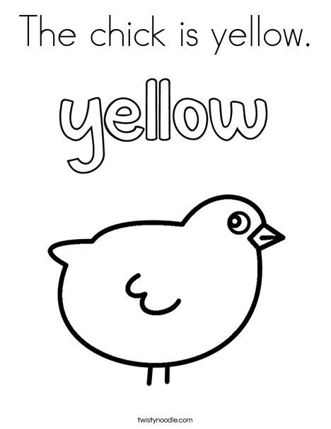 chick  yellow coloring page twisty noodle