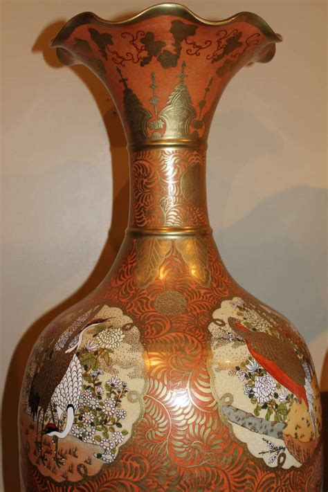 Large Vases For Sale by Pair Of Large Orange And Gold Gilt Japanese Satsuma Vases