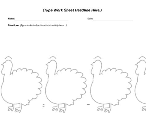 Turkey Math Template by Thanksgiving Worksheet Template Education World